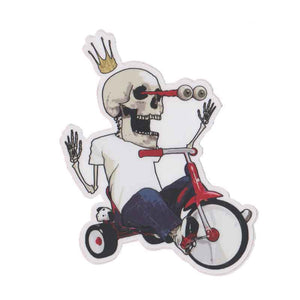 "Tricycle skeleton 4"" Sticker"