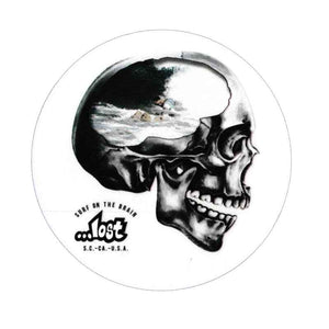 "...Lost Surf on the brain Skull 4"" Sticker"