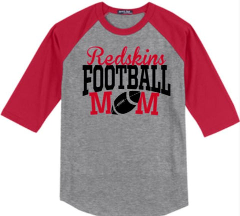 F- Ledgemont Redskins Football Mom Raglan 3/4 Sleeve