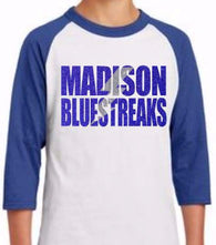 Madison Bluestreaks Baseball Raglan, Youth Sizing