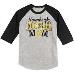 Riverhawk Mom Glittery Design Raglan