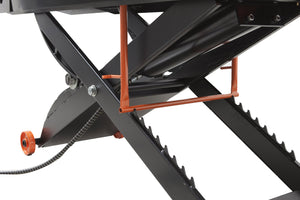"APlusLift MT1500XLT 72"" Wide 1,500LB Air Operated Motorcycle ATV Lift Table - Bottom View"