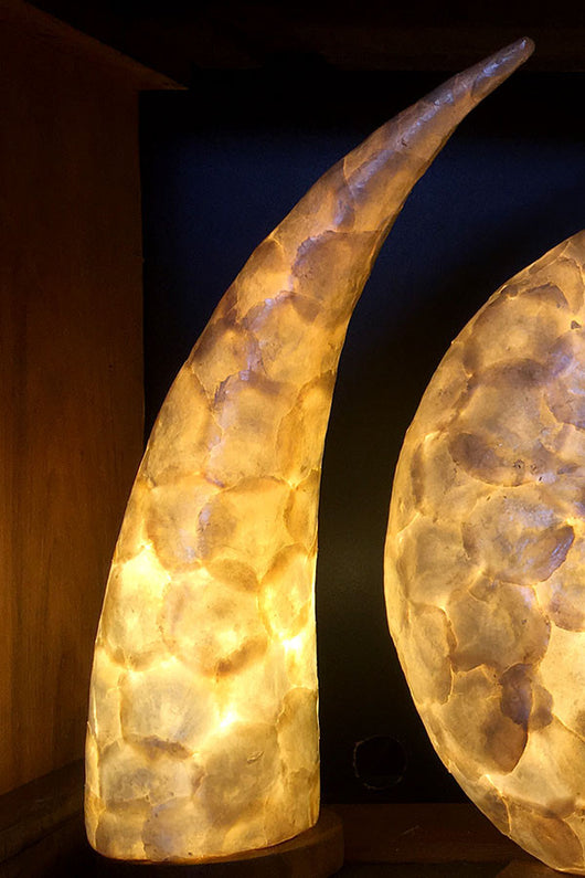 Mother of Pearl Tusk Pair Table Lights from Ocean Collection