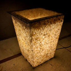 Square Pebbled Pot Furniture Light from Nature Collection