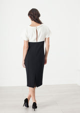 Pearl Fastened Dress in Cream/Black