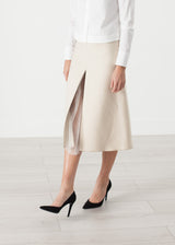 Tulle Pleat Skirt in Cream