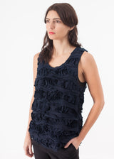 Ruffled Tank Top in Navy
