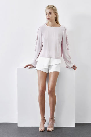 pale pink high neck work top with ruffled long sleeve and button back closure