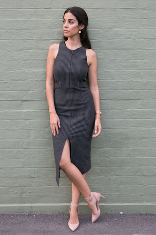 Front view dark grey pin stripe sleeveless work dress