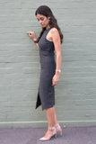 Side Front view dark grey pin stripe sleeveless work dress
