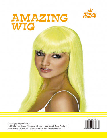 Long Straight Wig - Yellow - Yakedas Party and Giftware