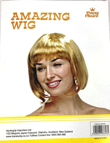 Short Hair Wig - Gold - Yakedas Party and Giftware