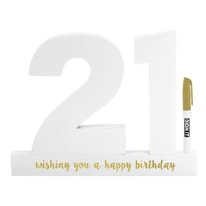 21 Sign it Block White - Yakedas Party and Giftware