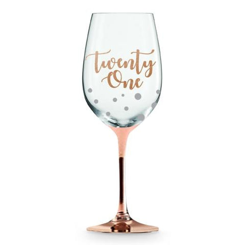 21st Rose Gold Steam Wine Glass - Yakedas Party and Giftware