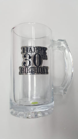30th Badge Straight Stein Glass - Yakedas Party and Giftware