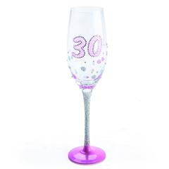 30th Champagne Vine Glitter Silver Glass