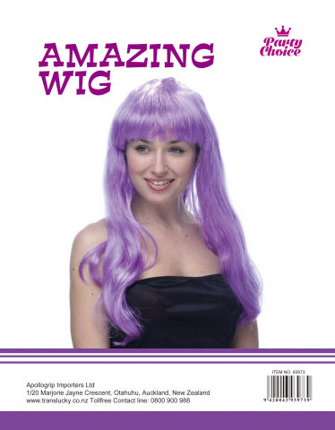 Long Straight Wig - Purple - Yakedas Party and Giftware