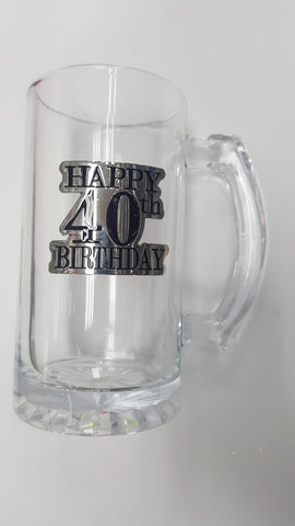 40th Badge Straight Stein Glass