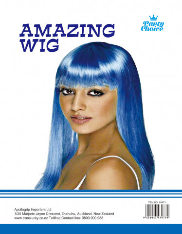 Long Straight Wig - Blue