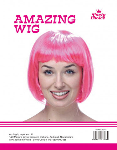 Short Hair Wig - Hot Pink - Yakedas Party and Giftware