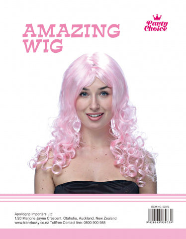 Long Curly Wig- Light Pink