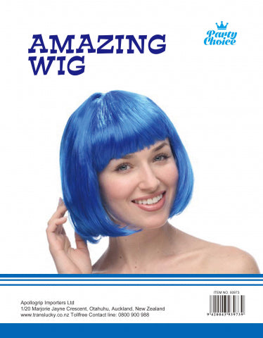 Short Hair Wig - Blue - Yakedas Party and Giftware