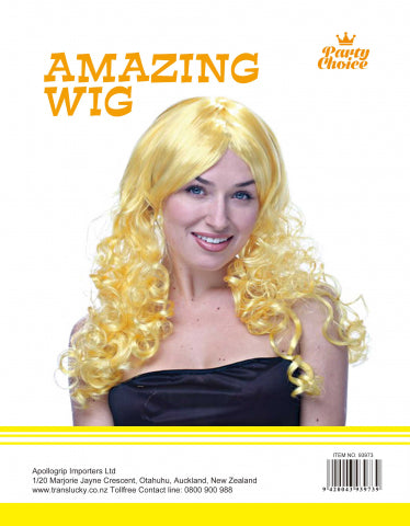 Long Curly Wig- Yellow - Yakedas Party and Giftware