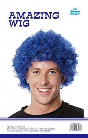 Afro Party Wig- Blue - Yakedas Party and Giftware