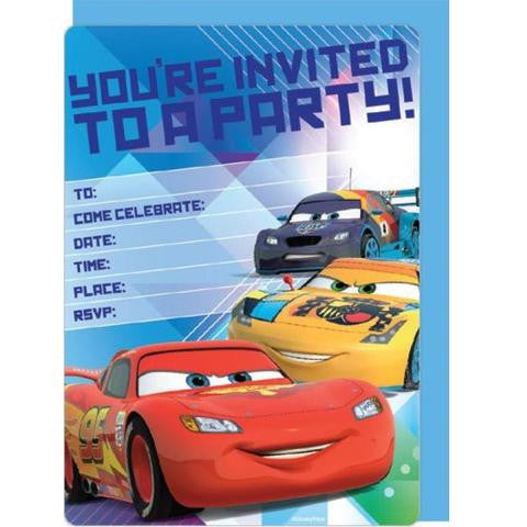 Disney Car Party Invitation Cards - Yakedas Party and Giftware