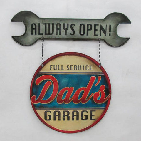 Dad's Garage With Spanner Sign - Yakedas Party and Giftware