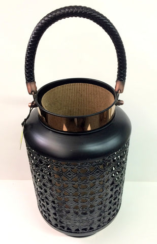 Ebony Metal Lantern W/Copper Accents - Yakedas Party and Giftware