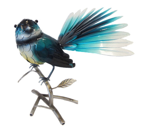 Fantail (Blue) on Branch – Metal Free Standing - Yakedas Party and Giftware