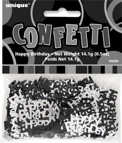 Glitz Black Happy Birthday Confetti - Yakedas Party and Giftware