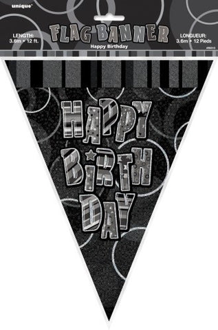 Glitz Black Happy Birthday Flag Banner - Yakedas Party and Giftware