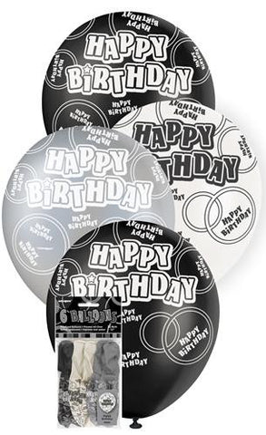 Glitz Black Latex Balloons - Happy Birthday - Yakedas Party and Giftware