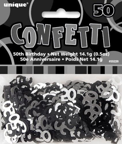 Glitz Black & Silver 50 Confetti - Yakedas Party and Giftware