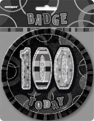 Glitz Black & Silver Birthday Badge - 100