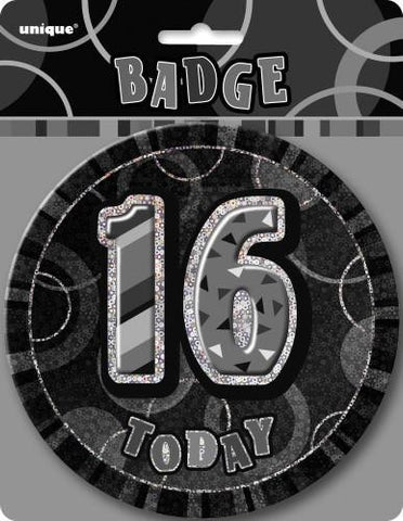 Glitz Black & Silver Birthday Badge - 16 - Yakedas Party and Giftware