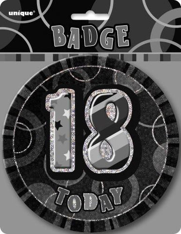 Glitz Black & Silver Birthday Badge - 18 - Yakedas Party and Giftware