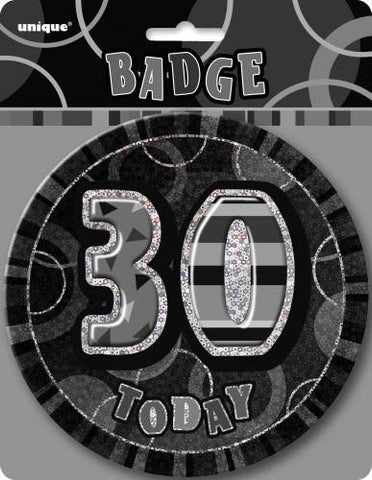 Glitz Black & Silver Birthday Badge - 30 - Yakedas Party and Giftware