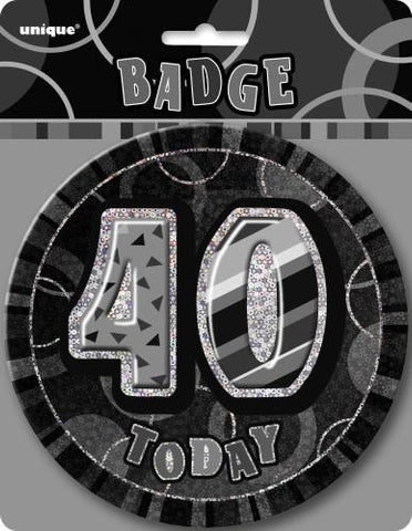 Glitz Black & Silver Birthday Badge - 40 - Yakedas Party and Giftware
