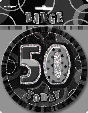 Glitz Black & Silver Birthday Badge - 50 - Yakedas Party and Giftware
