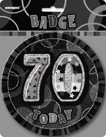 Glitz Black & Silver Birthday Badge - 70 - Yakedas Party and Giftware