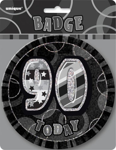 Glitz Black & Silver Birthday Badge - 90 - Yakedas Party and Giftware