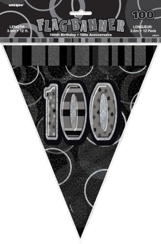 Glitz Black & Silver Birthday Flag Banner - 100 - Yakedas Party and Giftware