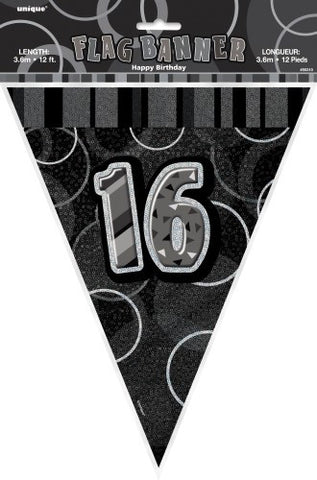Glitz Black & Silver Birthday Flag Banner - 16