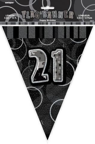 Glitz Black & Silver Birthday Flag Banner - 21 - Yakedas Party and Giftware