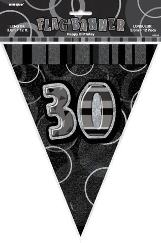 Glitz Black & Silver Birthday Flag Banner - 30 - Yakedas Party and Giftware