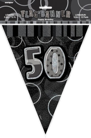 Glitz Black & Silver Birthday Flag Banner - 50 - Yakedas Party and Giftware