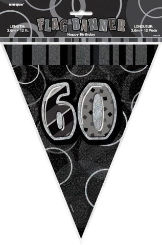 Glitz Black & Silver Birthday Flag Banner - 60 - Yakedas Party and Giftware